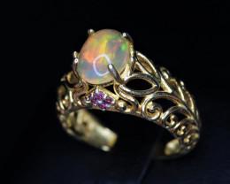 Gorgeous Natural Multi Fire Opal, Garnet & 925 Stylish Yellow Sterling  Sil