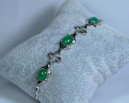 Natural 3 Pis Emerald 925 Silver Nice Design Bracelet
