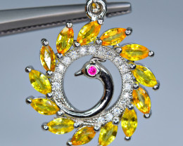 Natural  13 Pis beryllium sapphire,1CZ 925 Silver Pendant