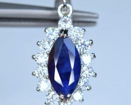 Natural Deep Blue Sapphire,CZ 925 Silver Pendant