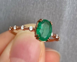 Natural Zambian Emerald Gold Over Sterling Silver F38