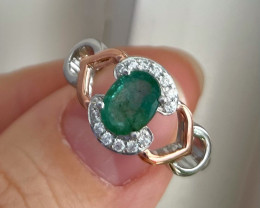 Natural Zambian Emerald Gold Over Sterling Silver F44