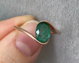Natural Zambian Emerald Gold Over Sterling Silver F48