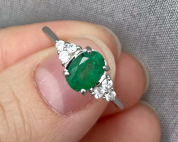 Natural Zambian Emerald Gold Over Sterling Silver F50
