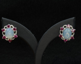Natural Opal and Rhodolite Garnet 27.68 Cts Silver Earrings