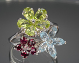 Natural Peridot, Rhodolite and Blue Topaz Silver Ring Good Design