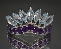 Natural Amethyst and Blue Topaz Silver Ring 31.53 Cts Unique Design