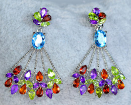 Natural 50 Pis Multi Mix color stones 925 Silver Nice Earrings