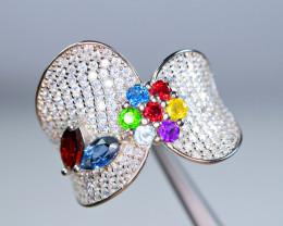 Natural Multi color stones ,CZ 925 Silver Amazing Design Ring