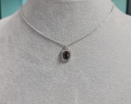 Natural Blue Spinel1.24 Cts Silver Necklace