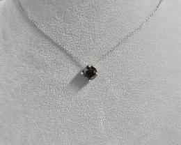 Natural Black Diamond 3.66 Ct  Silver Necklace