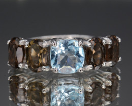 Multi Stones Natural Smoky Quartz, Blue Topaz Silver Ring 21.64 Cts
