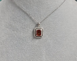 Natural Mystic Red 1.37 Ct And Topaz ~ Silver Necklace