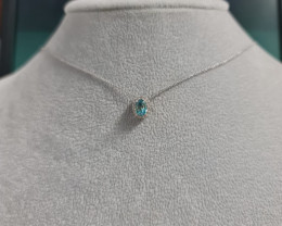 Natural Blue Zircon 1.25 Cts And Topaz ~ Silver Necklace