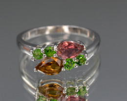 Natural Chrome Diopside , Tourmaline 10.80 Cts  Silver Ring Beautiful Desig