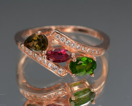 Multi Tourmaline and  Chrome Diopside , CZ, Rose Gold Plating  On Silver Ri