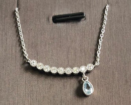 Stylish Charmming Topaz ~ Silver Necklace