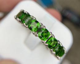 Natural Chrome diposide eternity ring.