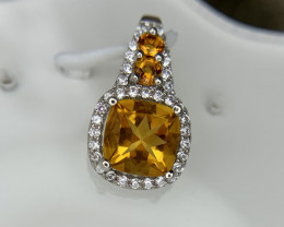 Natural Citrine pendent with CZ.