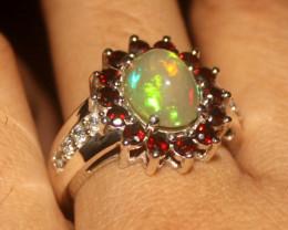 Ethiopian Fire Opal & Garnet 925 Silver Ring Size US (7.5) 515