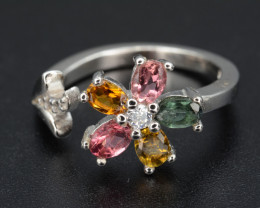 Multi-Color Natural Tourmaline 15.61 Cts and CZ, Beautiful Silver Ring
