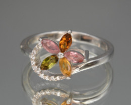 Multi Color Natural Tourmaline 13.29 Cts and CZ Silver Ring