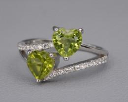 Natural Green Peridot 12.90 Cts CZ and  Silver Ring