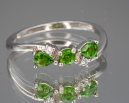 Natural Chrome Diopside , CZ Silver Ring 8.18 Cts Beautiful Design