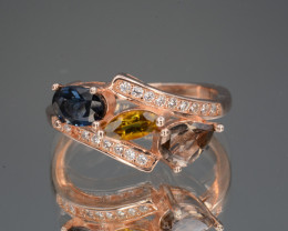 Multi-Color Natural Tourmaline, CZ  Rose Gold Plating on Silver Ring