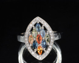 Multi-Stones Natural Tourmaline, Sapphire, CZ Silver Ring 19.93 Cts