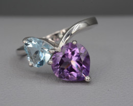 Beautiful Amethyst and Blue Topaz 18.83 Cts Silver Ring