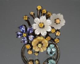 Multi-Stones Tanzanite, Apatite, Sapphire, CZ, Silver Ring Gorgeous Design