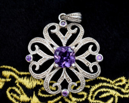 Natural Amethyst 30.33 Cts Silver Pendant Beautiful Design