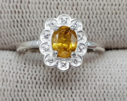 Natural Yellow Sphene 9.40 Carats 925 Silver Ring