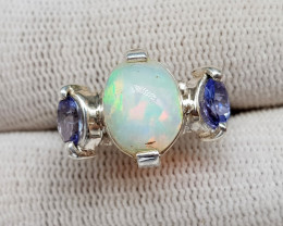 Natural Multi Fire Opal And Tanzanite Hand Made Ring