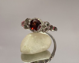 Natural Garnet 925 Silver Ring Size US (8.5) 614