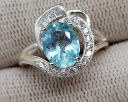 Natural Blue Topaz 19.20 Carats 925 Silver Ring