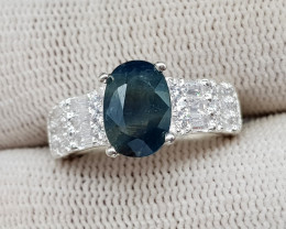 Natural Blue Sapphire 27.15 Carats 925 Silver Ring