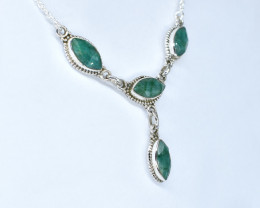EMERALD NECKLACE NATURAL GEM 925 STERLING SILVER AN57
