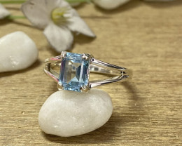 Natural Blue Topaz 925 Silver Ring Size US (9.5) 624