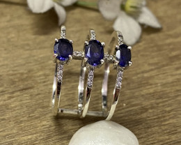 Natural Iolite 925 Silver Ring Size US (9.5) 627