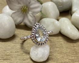Natural Aquamarine 925 Silver Ring Size US (8.5) 607