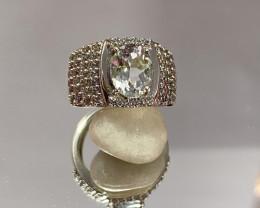 Natural Aquamarine 925 Silver Ring Size US (7.5) 654