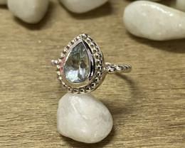 Natural Aquamarine 925 Silver Ring Size US (5.5) 613