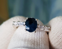Natural Blue Sapphire 16.70 Carats 925 Silver Ring