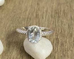 Natural Aquamarine 925 Silver Ring Size US (7) 595