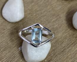 Natural Aquamarine 925 Silver Ring Size US (7) 592