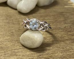 Natural Aquamarine 925 Silver Ring Size US (8.5) 617