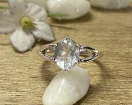 Natural Aquamarine 925 Silver Ring Size US (10) 633