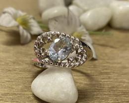 Natural Aquamarine 925 Silver Ring Size US (8.5) 626